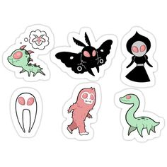 'Pastel Cryptids (Pink)' Sticker by daisydandy Billy Kid, Mystical Animals, Creepy Monster, Aesthetic Tattoo, Mothman, Animal Silhouette, Cryptozoology, Gay Art, Magical Creatures