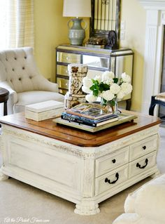 Chalk painted Annie Sloan coffee table Refinished Pinterest