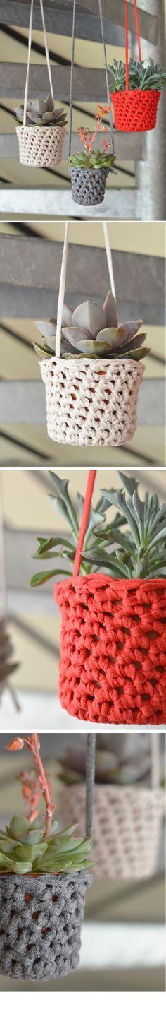 DIY Crochet : Cache-pots | Finir les restes de RibbonXL at L'encre violette