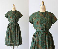 Cookie- Vintage 1950s Dress / 50s Dress / Day Dress / Cotton Print /  Forrest