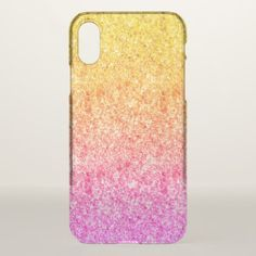 Pink And Yellow Faux Glitter Background iPhone X Case - glitter gifts personalize gift ideas unique Glitter Eyeshadow Palette, Glitter Lipstick, Glitter Roses, Glitter Eyeliner, Glitter Spray Paint, Glitter Gel, Pink Glitter, Glitter Vinyl, Glitter Phone Cases