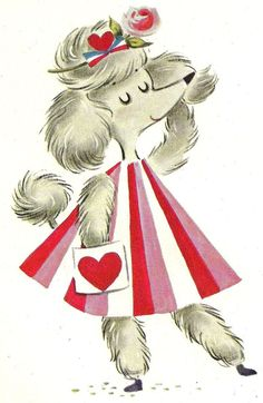 Vintage french poodle Valentine Card