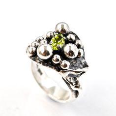 Unique Peridot Ring Recycled Silver Jewelry by AlexAirey, www.etsy.com/shop/alexairey