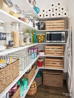 10 Clutter Hotspots (How To Conquer Them For Good!) It can be difficult to keep a positive outlook on clutter. Mess seems to pop up overnight and can be hard to control. But have no fear; we tackled 10 common clutter hot spots — like the entryway, office, Kitchen Pantry Design, Kitchen Pantry Cabinets, Interior Design Kitchen, Kitchen Decor, Kitchen Ideas, Kitchen Appliances, Pantry Interior, Pantry Ideas, Kitchen Shelves