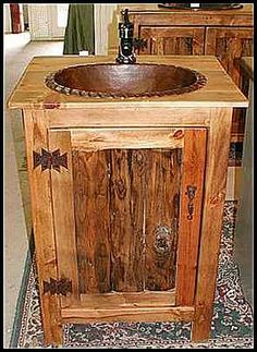 Photo of Rope Sink installed in our Rustic Vanity - Copper Sink: Oval Hammered Copper Sink / Rope Edge