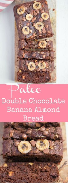 This Double Chocolate Banana Almond Bread is insanely delicious!! Grain-free and Paleo, but still packed with flavor. Bound to be your new favorite!! #paleo #glutenfree