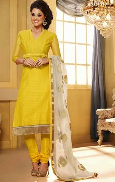 Picture of Scintillating Yellow Color Salwar Suit