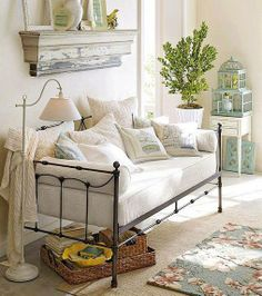 Shop savannah daybed with trundle from Pottery Barn. Our furniture, home decor and accessories collections feature savannah daybed with trundle in quality materials and classic styles. Daybed Room, Daybed With Trundle, Daybed Couch, White Daybed, Muebles Shabby Chic, Daybed Design, Guest Room Office, Office Sofa, Spare Room
