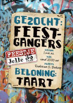 YVON graffiti gezocht mannenkaart puber - Uitnodigingen - Kaartje2go