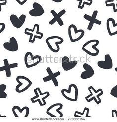 Abstract seamless pattern of hearts and shapes. Image for a poster or cover. Repeating texture. Figure for textiles.