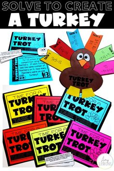 Solve To Create a Turkey:  Students solve word problems and make a turkey craft
