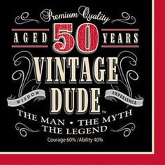 Vintage Dude 50th Birthday Napkins Ideal For A Guys Party