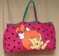 383528387b13 Vintage 90s Flintstones Pebbles Purple Duffel Weekender Overnight Gym Bag