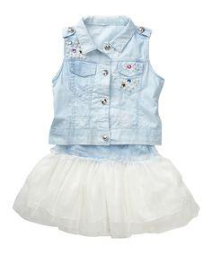 Denim Vest & White Skirt - Toddler & Girls | Something special every day
