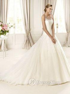 Beautiful Full Wedding Dress With Lace Neckline | dresseshop.co.uk