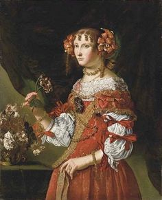 Pier Francesco Cittadini il Milanese (1616-1681) — Portraitᅠof  Young Woman in Red Dress (607x750)