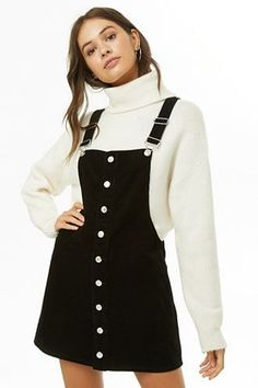 Corduroy Overall Dress. Found: Cute Overall Dress Outfits to Try for Fall. Winter Dress Outfits, Casual Dress Outfits, Trendy Dresses, Simple Outfits, Trendy Outfits, Cute Outfits, Fashion Outfits, Dress Winter, Cute Overall Outfits