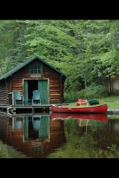 Boat House cute for a lake house?....Want to dress up my boat house.....Think I'll begin with a little color. you could even install a Murphy bed.