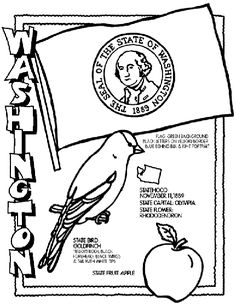 Washington coloring page--Crayola has online coloring pages of all 50 states. Print or color using ipad.