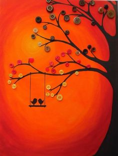 Best Ideas For Painting Canvas Kids Button Tree Fun Crafts, Crafts For Kids, Arts And Crafts, Art N Craft, Diy Art, Button Tree Art, Button Art On Canvas, Buttons On Canvas, Button Picture