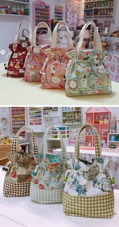 How adorable are these drawstring bags? The link doesn't take you to the actual pattern. Diy Bags Purses, Fabric Purses, Coin Purses, Patchwork Bags, Quilted Bag, Bag Patterns To Sew, Handbag Patterns, Handmade Bags, Handmade Bracelets