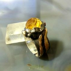 silver and Citrine ring  November birthstone  by EfratShifrin