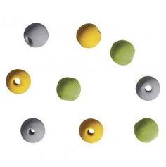 Drevené korálky / 9mm / 60ks / zelená-žltá-biela-sivá