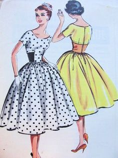 1950s McCALLS 4565 PATTERN LOVELY FULL SKIRT PARTY DRESS