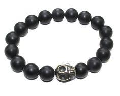 Pyrite Skull and Matte Onyx Bracelet for Men