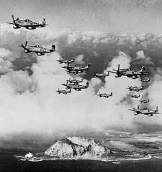 P-51 squadron, flying over IwoJima