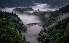 Download wallpapers Tadami Line, Fukushima, Japan, bridge, mountain landscape, fog, forest, Japanese landscape