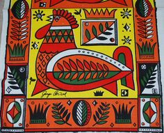 Bold and Vibrant Chicken Themed Georges Briard Vintage Kitchen Towel-TREASURY SELECTION