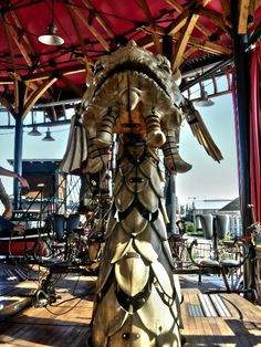 "Sea Dragon - upper deck of the triple decker carousel ""Mondes des Marins"" at the Les Machines museum/experience Nantes France"