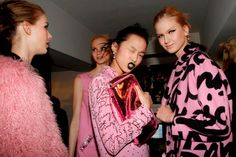 In the backstage at the Moschino Cheap and Chic 2013-2014 fall/winter London Fashion Show #moschino #cheapandchic