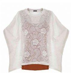 Suéter con encaje de flores en color Crudo de Orfeo Paris