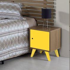Criado Mudo Baixo 1 Porta Moduler - Amadeirado e Laca Amarelo -  Walmart - L47,5 x P45 x A78 - R$ 199