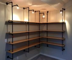 Lighted Pipe-supported Shelves style. Really like to have them in the basement .