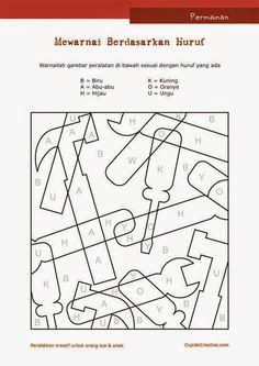 permainan anak paud (balita/TK), mewarnai sambil belajar membaca huruf, gambar peralatan