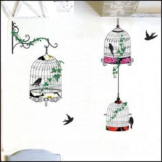 Bird and Bird Cage Art Deco Removable Wall Stickers