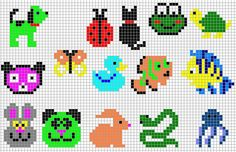 animales hama beads, hama mini, perler, etc Perler Bead Designs, Perler Bead Templates, Hama Beads Design, Diy Perler Beads, Hama Beads Patterns, Perler Bead Art, Beading Patterns, Tiny Cross Stitch, Cross Stitch Designs