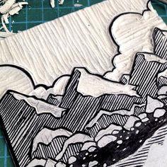 linoleum printmaking Mat Pringle: Look Out Mountain Look Out Sea linocut print Stamp Printing, Screen Printing, Linocut Prints, Art Prints, Block Prints, Lino Art, Stamp Carving, Linoprint, Sgraffito