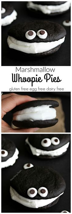 Gluten Free Whoopie Pies (egg free dairy free vegan-option) Easy marshmallow filled chocolate cakes, a lighter whoopie pie!