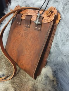 Leather Hedeby bag, medieval, norse, viking, saxon, celtic, larp, custom Viking Pattern, Pagan Fashion, Leather Working Patterns, Mythical Creatures Art, Norse Vikings, Leather Projects, Work Inspiration, Diy Accessories, Michael Kors Hamilton