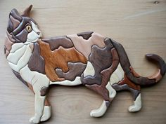 Calico cat Intarsia Woodworking, Woodworking Patterns, Woodworking Projects Diy, Diy Projects, Intarsia Wood Patterns, Wood Carving Patterns, Crazy Cat Lady, Crazy Cats, Scroll Saw Patterns