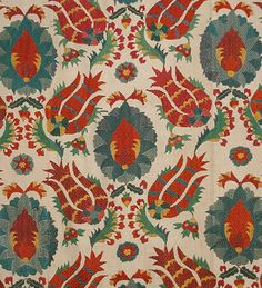 Uzbek Suzanis  Ottoman brocades and embroidery designs have always been highly regarded  in Central Asia, and so dramatic Ottoman tulip designs have been appearing as well in the contemporary embroideries.