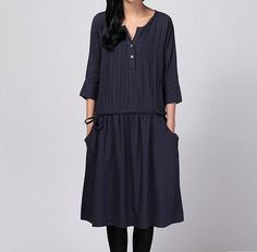 BULE  loose  linen  dress linen Chic  dress linen by clothingshow, $52.00