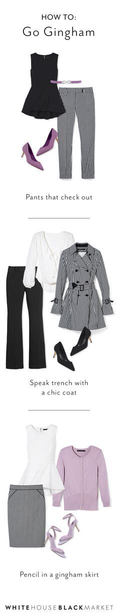 Gingham: not just for backyard barbecues and Sunday drives. Gingham is making a name for itself in workwear this season. Polished work looks aren't just black pantsuits anymore, add this new checked pattern to your rotation to freshen up your spring look. | White House Black Market