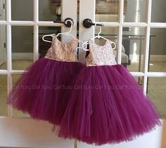 Such a striking tulle dress! Rose Gold and Burgundy/Wine. This is our sleeveless style sequin tutu dress with a stretchy satin back and tulle skirt. We can change these colors! We offer the following sequin colors: champagne, gold, blush gold (rose gold), blush pink, silver, white, fuchsia