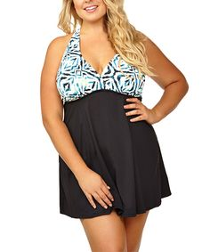 637fc5bc2fc5f Loving this It Figures! Black & Blue Out of Africa Slender Thighs  Swimdress -
