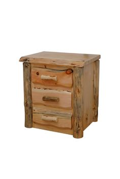 Rustic Pine Log Slab Live Edge 3 Drawer Night Stand - End Table - Side Table- 2 Finishes -  Custom - Handmade - Amish Made in USA Rustic Amish Custom Pine Country Cabin Furniture Wood Bedroom furniture End Table Side Table Night Stand Nightstand Amish Furniture